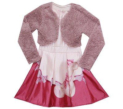 Vestido em Cetim Duplo e Bolero em Pelo Rosa