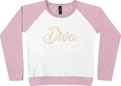 Blusão em Moletinho Pa Diva Rosa