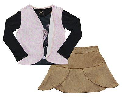 Conjunto com Blusa em Cotton com Estampa e Strass, Saia em Suede e Colete Estampado Preto