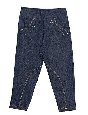 Calça de Montaria em Cotton Jeans com Detalhes em Strass Azul