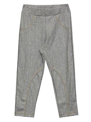 Calça de Montaria em Cotton Jeans com Detalhes em Strass Cinza