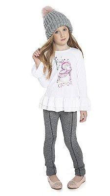 Conjunto com Blusa em Anarruga com Elastano Estampada com Strass e Legging em Crepe Duplo Branco