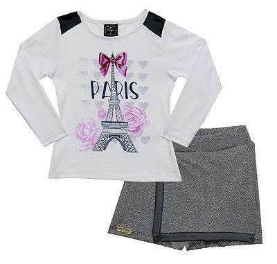 Conjunto com Blusa em Cotton Estampada com Detalhes em Strass e Shorts Saia Branco