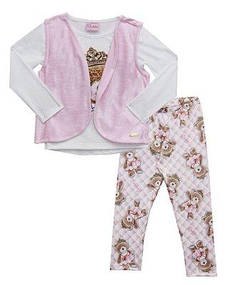 Conjunto com Blusa Cotton Estampada , Colete em Plush e Leeging Suplex Peluciado Branco