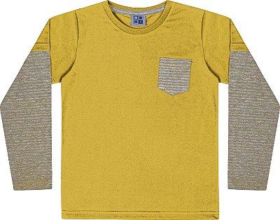 Camiseta em Meia Malha Listrada Manga Longa Amarelo