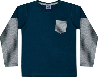 Camiseta em Meia Malha Listrada Manga Longa Azul