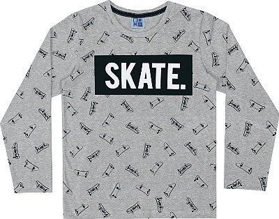 Camiseta em Meia Malha Skate Manga Longa Mescla