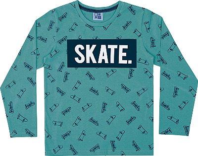 Camiseta em Meia Malha Skate Manga Longa Verde