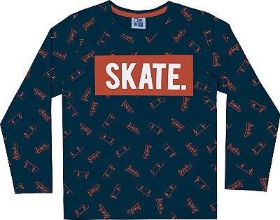 Camiseta em Meia Malha Skate Manga Longa Azul