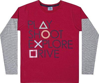 Camiseta em Meia Malha Play Vermelho