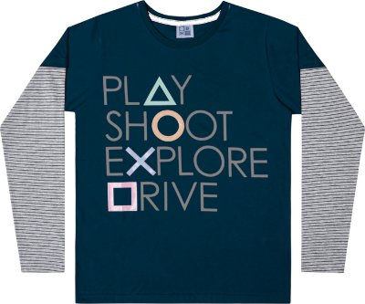 Camiseta em Meia Malha Play Azul