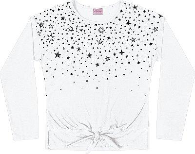 Blusa Manga Longa Estampa Glitter Branco