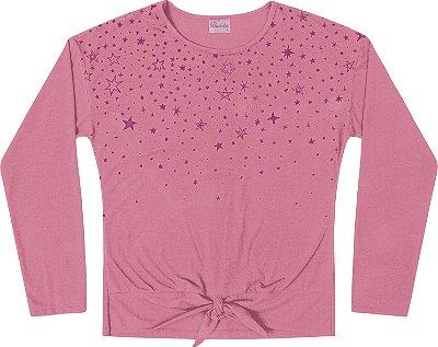 Blusa Manga Longa Estampa Glitter Rosa