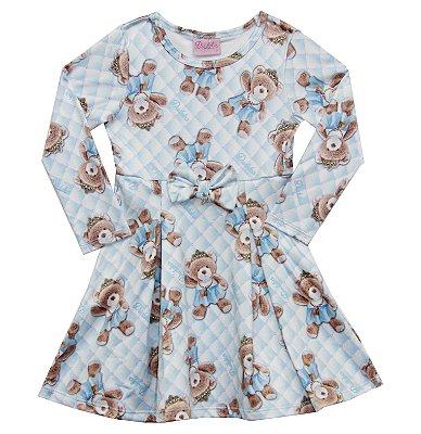 Vestido em Suplex Estampa de Ursinhos Com Laço e Pingente Azul
