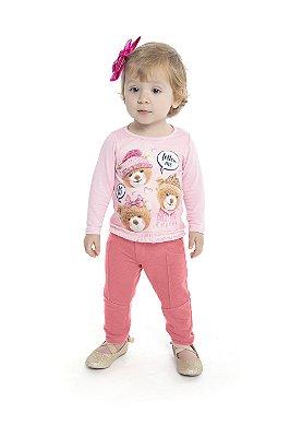 Blusa em Cotton Light Estampa de Ursos e Strass Rosa.