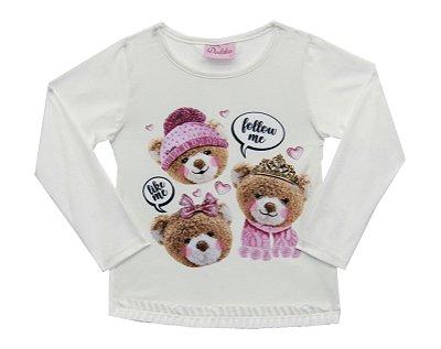 Blusa em Cotton Light Estampa de Ursos e Strass Bege.