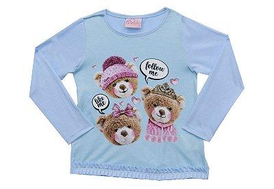 Blusa em Cotton Light Estampa de Ursos e Strass Azul