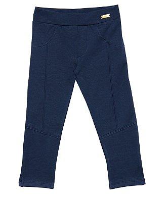 Calça Montaria com Plaquinha de Metal Azul