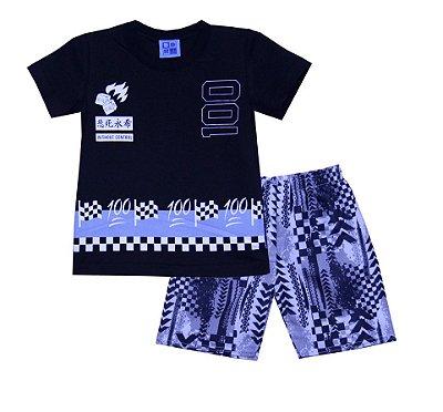 Conjunto de Camiseta e Bermuda estampada Preto