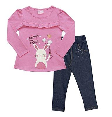 Conjunto Bata Em Cotton com Estampa de Coelho e Calça Em Cotton Jeans Com  Strass - Rosa