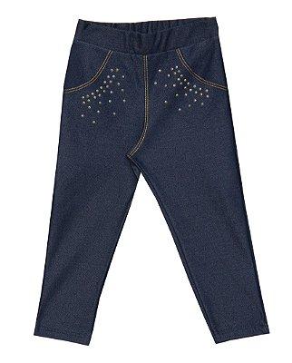 Calça Em Cotton Jeans Com Strass - Azul