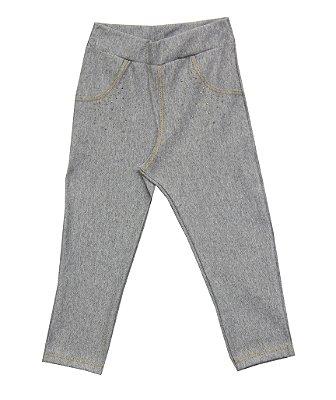 Calça Em Cotton Jeans Com Strass - Mescla