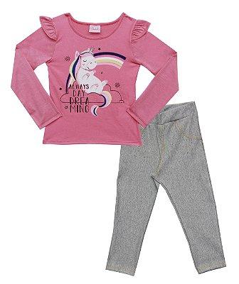 Conjunto De Blusa Com Estampa Unicórnio E Strass, Legging em Cotton Jeans e Strass - Rosa