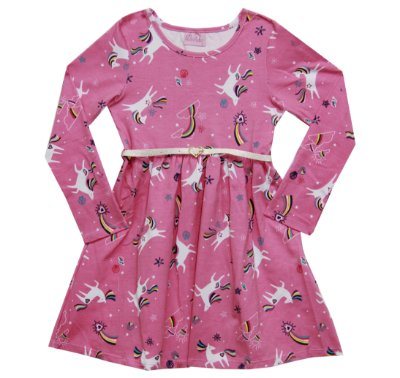 Vestido Manga Longa Rotativo Rosa