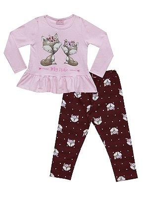 Conjunto Blusa em Cotton Penteado com Estampa e Legging em Cotton Rosa