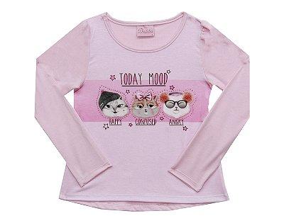 Blusa em Cotton Sublimado e Strass Rosa