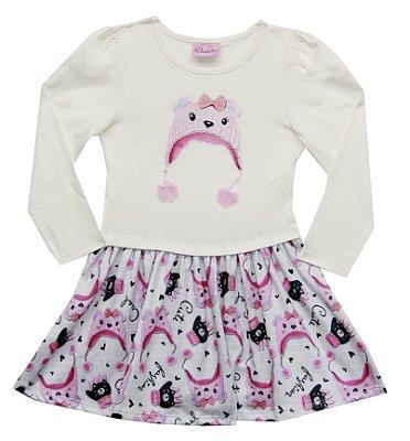 Vestido em Cotton com Detalhe em Bordado e Saia Estampada Bege