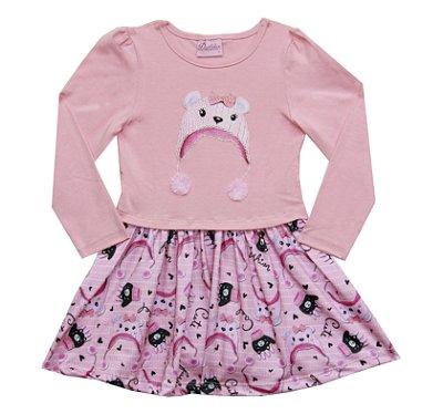 Vestido em Cotton com Detalhe em Bordado e Saia Estampada Rosa