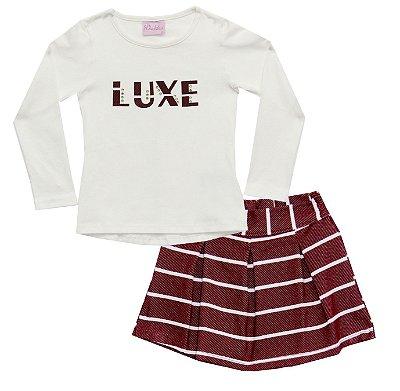 Conjunto com Blusa em Cotton Penteado com Aplique e Saia Shorts em Cotton Jeans Bege
