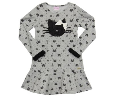 Vestido em Cotton Gatinhos com Detalhes de Pelinho de Ovelha Sintetico Mescla