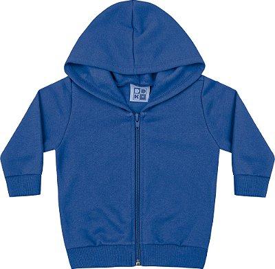 Jaqueta em Moletom Básica com Capuz - Azul