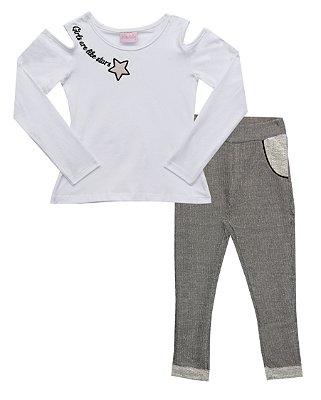Conjunto com Blusa em Cotton e Calça em Moletom Desagulhado Branco