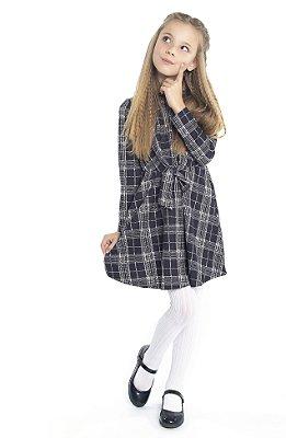 Vestido em Crepe Rotativo Xadrez Preto