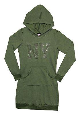 Vestido em Moletinho com Capuz , Strass e Cadarço Decorativo Verde Militar