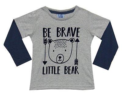 Camiseta em Meia Malha Estampada com Sobreposição nas Mangas Mescla