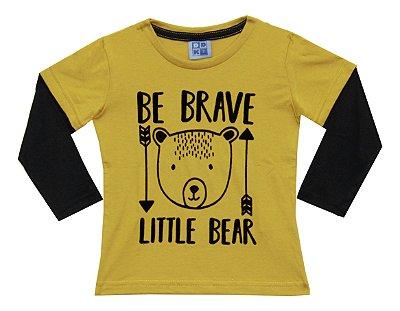 Camiseta em Meia Malha Estampada com Sobreposição nas Mangas Amarelo