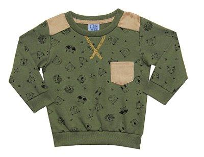 Blusão em Moletom com Detalhes no Bolso e nos Ombros Verde Militar