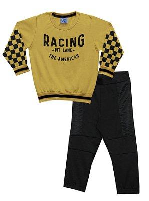 Conjunto de Blusão em Moletinho Estampado e Calça em Moletinho Amarelo