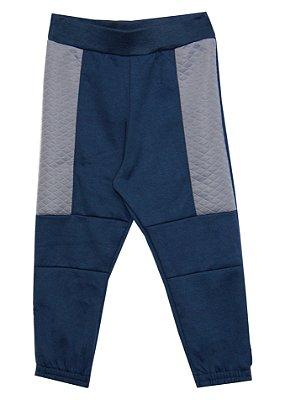 Calça em Moletinho com Detalhes em Matelassê Azul