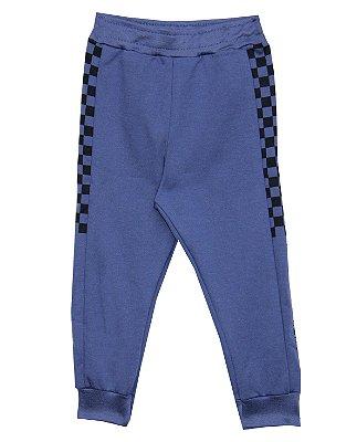 Calça em Moletinho com Detalhes e Estampa Azul