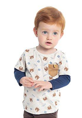 Camiseta em Meia Malha Estampada Ursinhos com Bolso e Sobreposição nas Mangas Bege