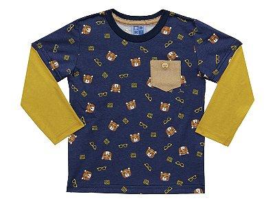 Camiseta em Meia Malha Estampada Ursinhos com Bolso e Sobreposição nas Mangas Azul