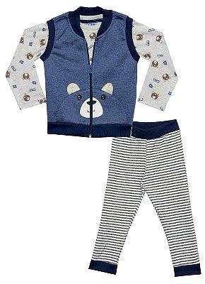 Conjunto de Camiseta em Meia Malha, Colete em Moletom e Calça em Moletom Trico Listrado Azul