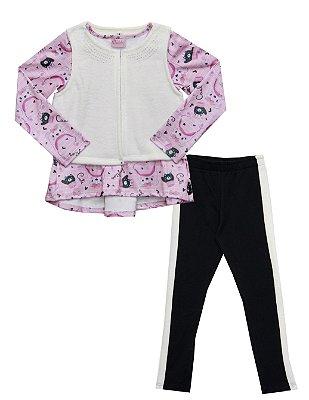 Conjunto Bata Peluciado Colete em Plush Peluciado com Strass e Legging em Cotton Peluciado  Rosa