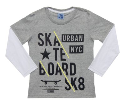 Camiseta Em Meia Malha Com Estampa E Manga Sobreposta - Mescla