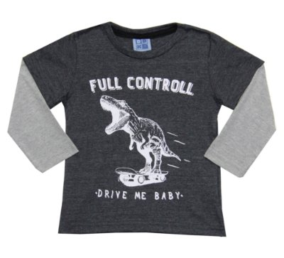 Camiseta em Meia Malha Estampada com Sobreposição nas Mangas Mescla Escuro